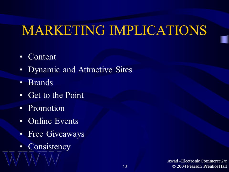 Awad –Electronic Commerce 2/e © 2004 Pearson Prentice Hall15 MARKETING IMPLICATIONS Content Dynamic and Attractive Sites Brands Get to the Point Promotion Online Events Free Giveaways Consistency