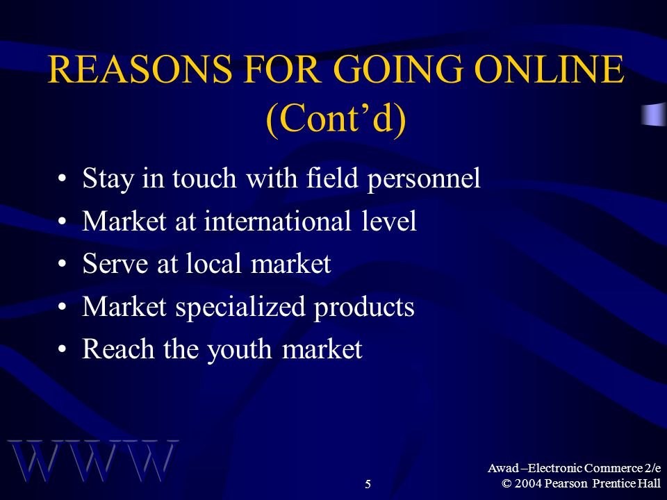 Awad –Electronic Commerce 2/e © 2004 Pearson Prentice Hall5 REASONS FOR GOING ONLINE (Cont'd) Stay in touch with field personnel Market at international level Serve at local market Market specialized products Reach the youth market