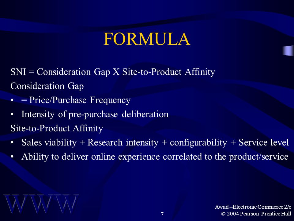 Awad –Electronic Commerce 2/e © 2004 Pearson Prentice Hall7 FORMULA SNI = Consideration Gap X Site-to-Product Affinity Consideration Gap = Price/Purchase Frequency Intensity of pre-purchase deliberation Site-to-Product Affinity Sales viability + Research intensity + configurability + Service level Ability to deliver online experience correlated to the product/service