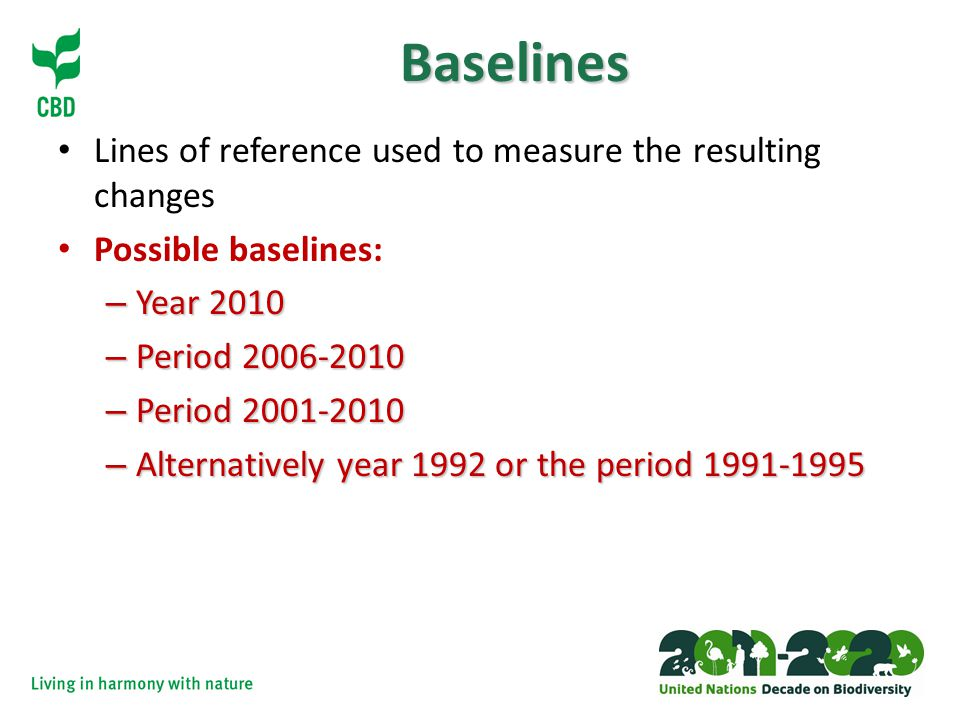 Baselines Lines of reference used to measure the resulting changes Possible baselines: – Year 2010 – Period – Period – Alternatively year 1992 or the period