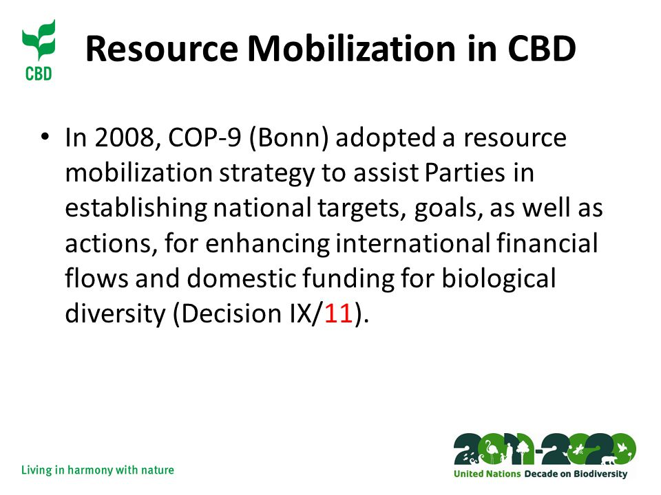 Resource Mobilization in CBD In 2008, COP-9 (Bonn) adopted a resource mobilization strategy to assist Parties in establishing national targets, goals, as well as actions, for enhancing international financial flows and domestic funding for biological diversity (Decision IX/11).