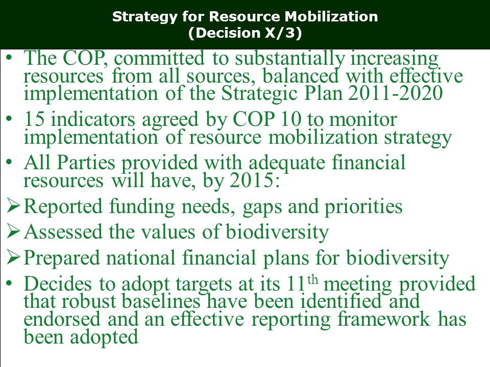 Strategy for Resource Mobilization (Decision X/3) The COP, committed to substantially increasing resources from all sources, balanced with effective implementation of the Strategic Plan indicators agreed by COP 10 to monitor implementation of resource mobilization strategy All Parties provided with adequate financial resources will have, by 2015:  Reported funding needs, gaps and priorities  Assessed the values of biodiversity  Prepared national financial plans for biodiversity Decides to adopt targets at its 11 th meeting provided that robust baselines have been identified and endorsed and an effective reporting framework has been adopted