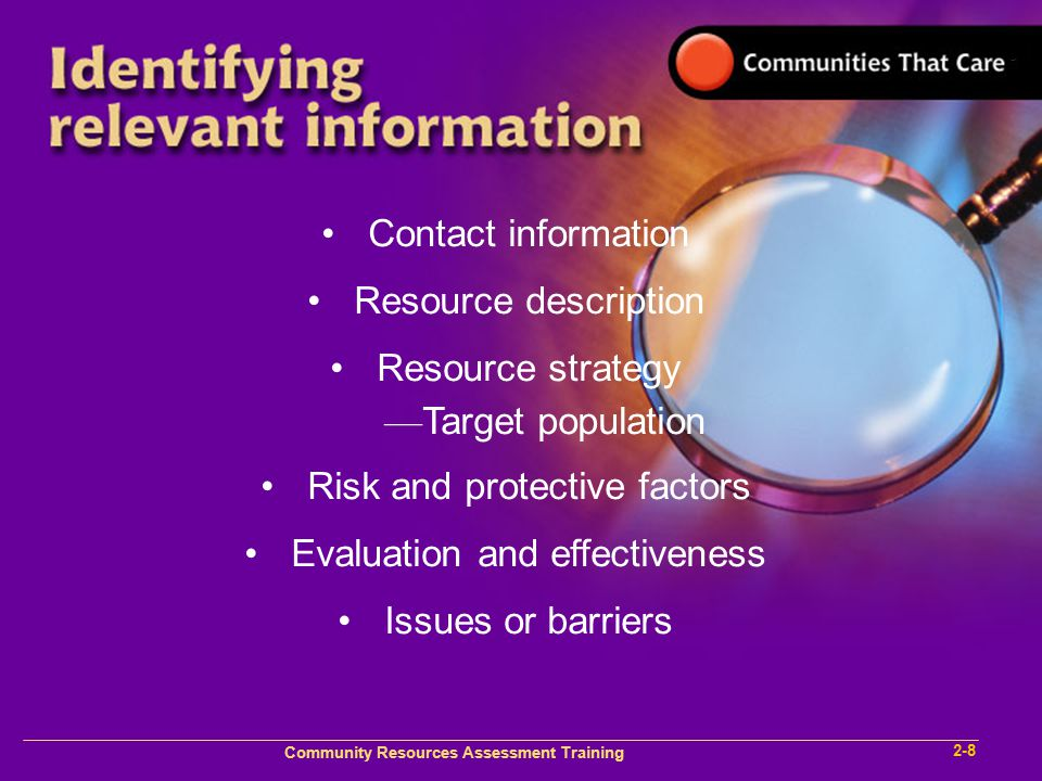 Community Plan Implementation Training 1- Community Resources Assessment Training 2-8 Contact information Resource description Resource strategy — Target population Risk and protective factors Evaluation and effectiveness Issues or barriers