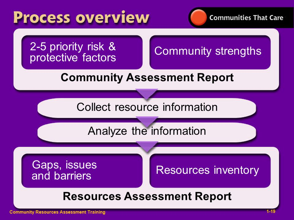 Community Resources Assessment Training Collect resource information 1-19 Analyze the information Resources Assessment Report Community Assessment Report 2-5 priority risk & protective factors Community strengths Gaps, issues and barriers Resources inventory
