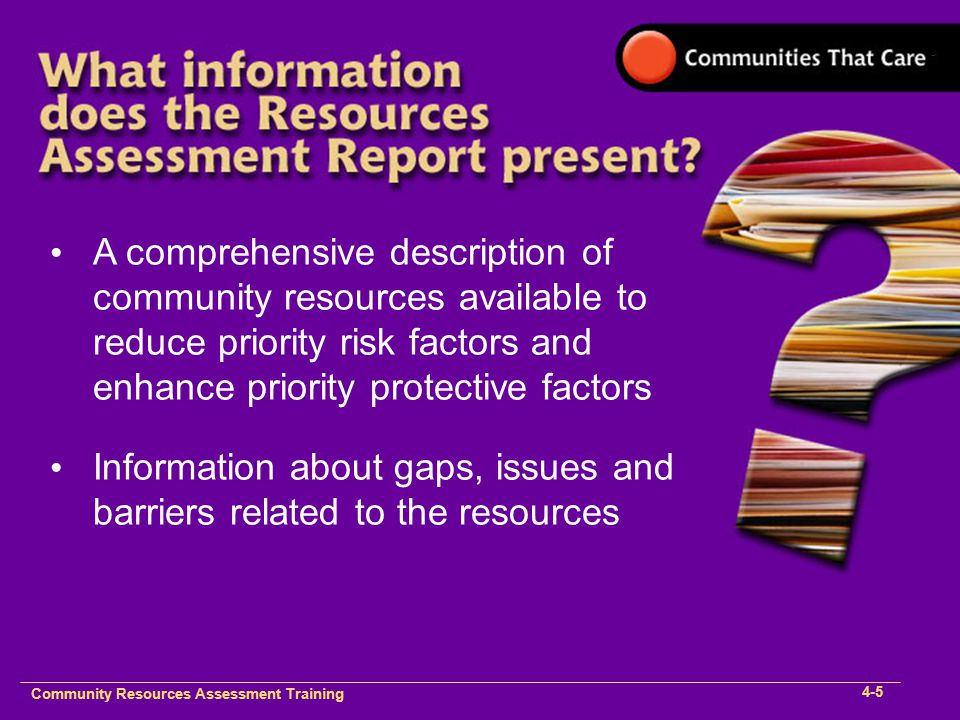 Community Plan Implementation Training 1- Community Resources Assessment Training 4-5 A comprehensive description of community resources available to reduce priority risk factors and enhance priority protective factors Information about gaps, issues and barriers related to the resources