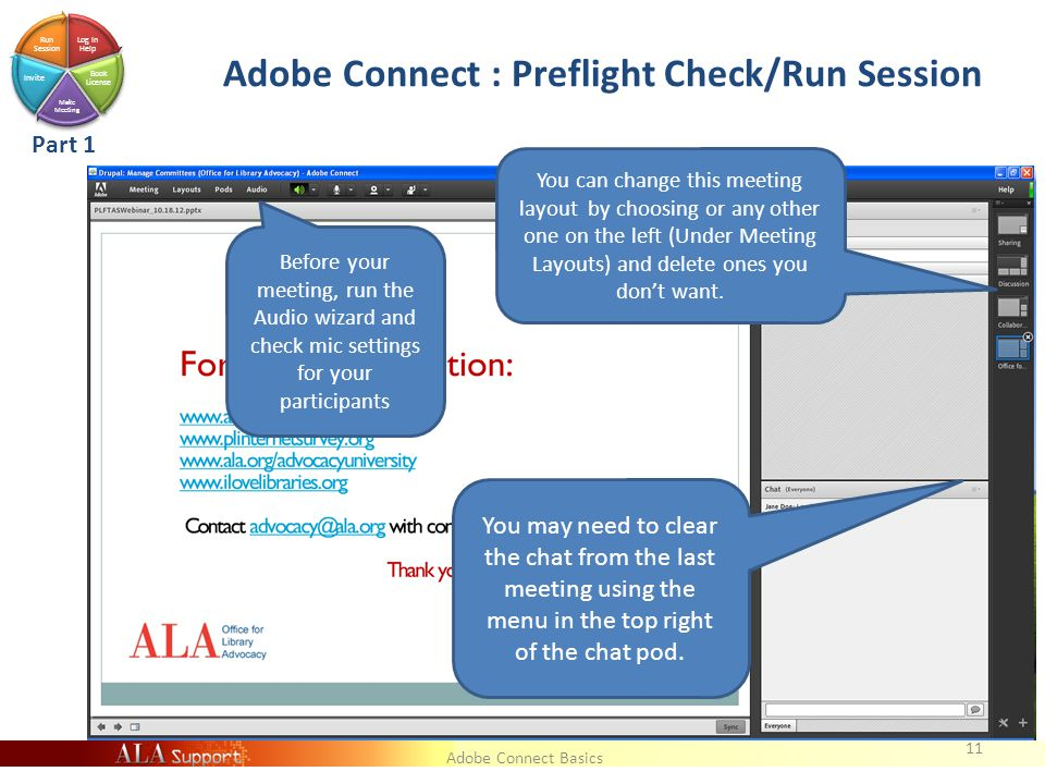 Adobe Connect Basics Log In Help Book License Make Meeting Invite Run Session Adobe Connect : Preflight Check/Run Session 11 You may need to clear the chat from the last meeting using the menu in the top right of the chat pod.