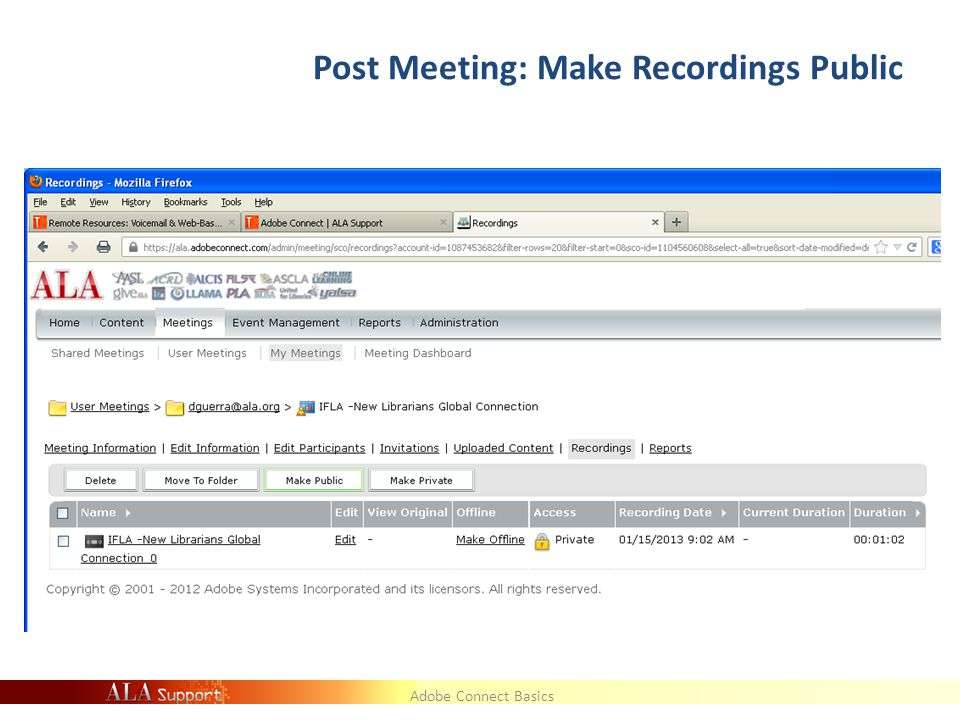Adobe Connect Basics Post Meeting: Make Recordings Public