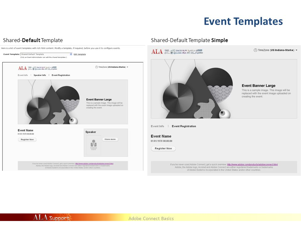 Adobe Connect Basics Event Templates Shared-Default TemplateShared-Default Template Simple