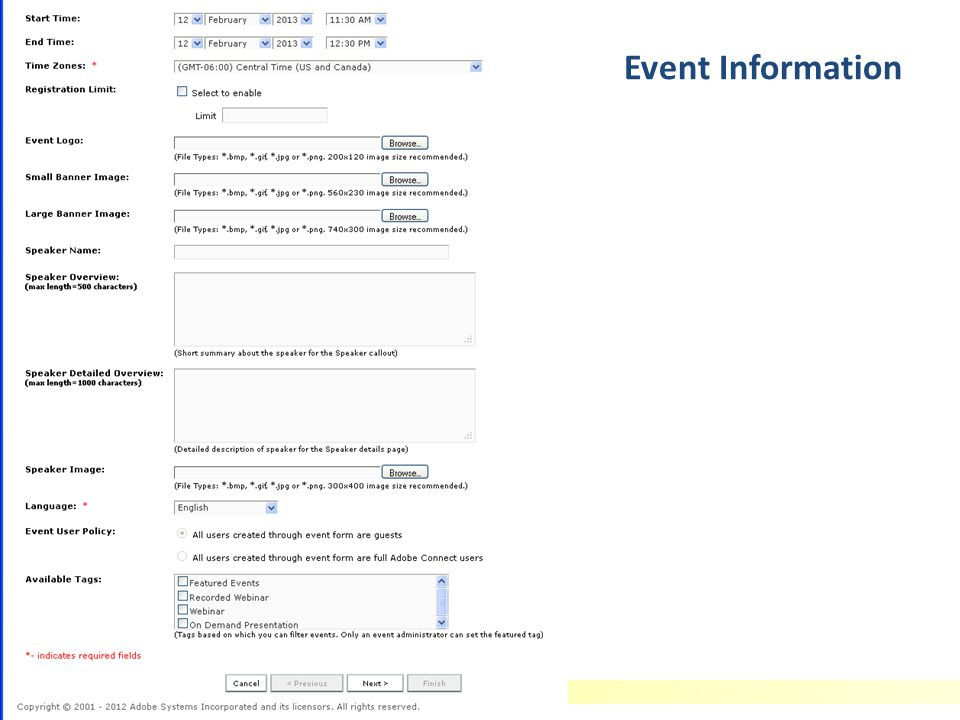 Adobe Connect Basics Event Information