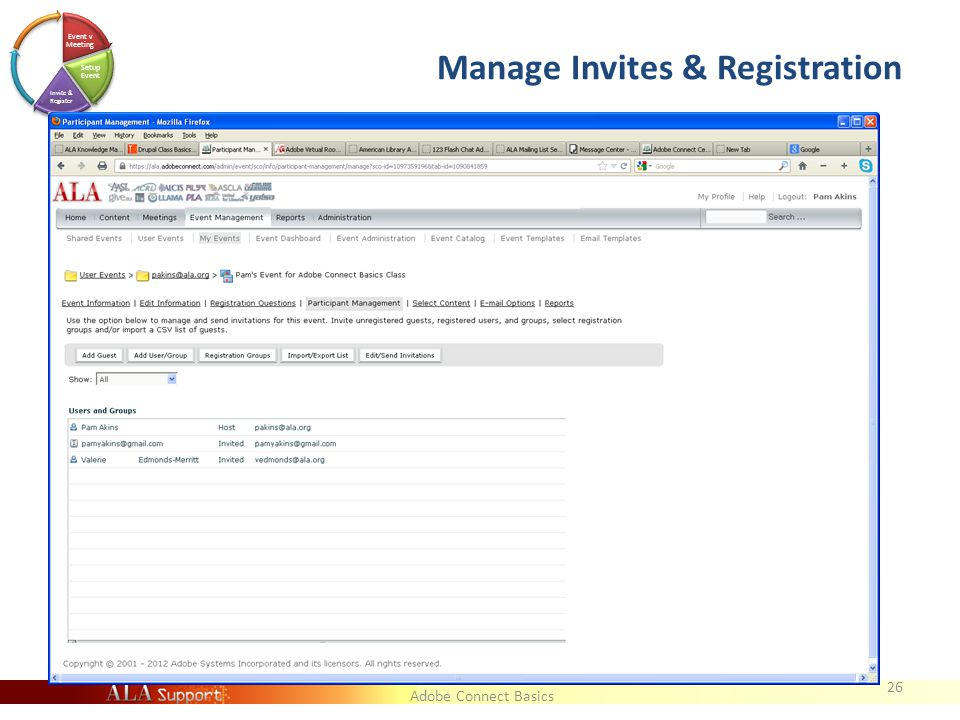 Adobe Connect Basics Manage Invites & Registration 26 Event v Meeting Setup Event Invite & Register