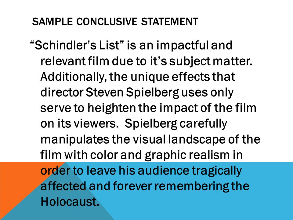 schindlers list thesis statement