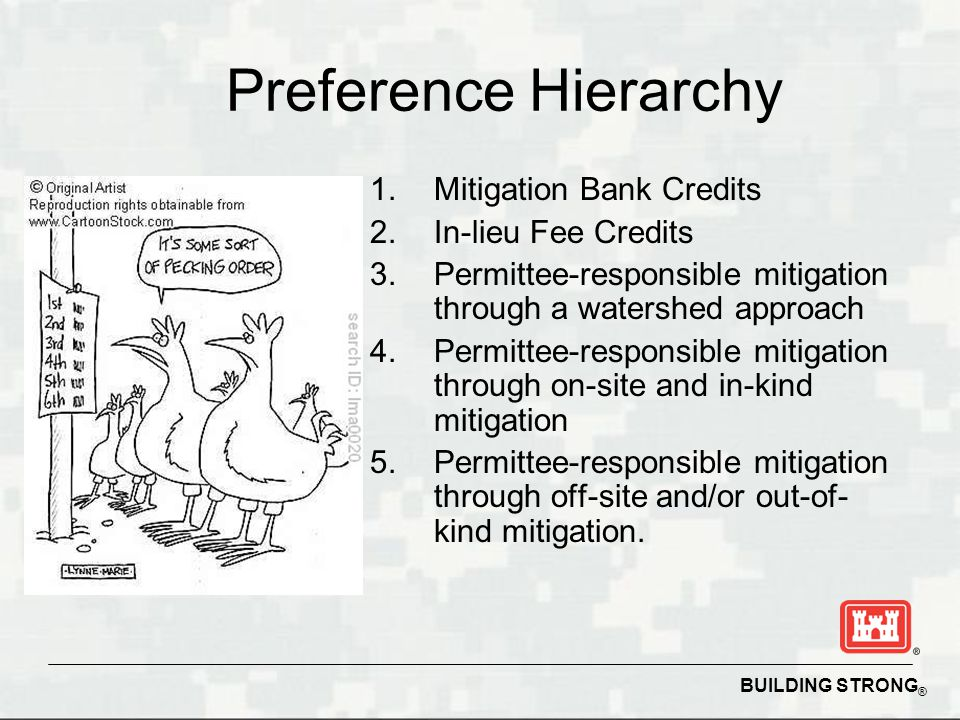 BUILDING STRONG ® Preference Hierarchy 1.Mitigation Bank Credits 2.In-lieu Fee Credits 3.Permittee-responsible mitigation through a watershed approach 4.Permittee-responsible mitigation through on-site and in-kind mitigation 5.Permittee-responsible mitigation through off-site and/or out-of- kind mitigation.
