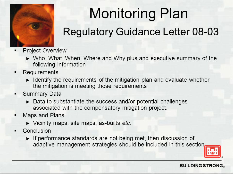 BUILDING STRONG ® Monitoring Plan Regulatory Guidance Letter  Project Overview ► Who, What, When, Where and Why plus and executive summary of the following information  Requirements ► Identify the requirements of the mitigation plan and evaluate whether the mitigation is meeting those requirements  Summary Data ► Data to substantiate the success and/or potential challenges associated with the compensatory mitigation project.