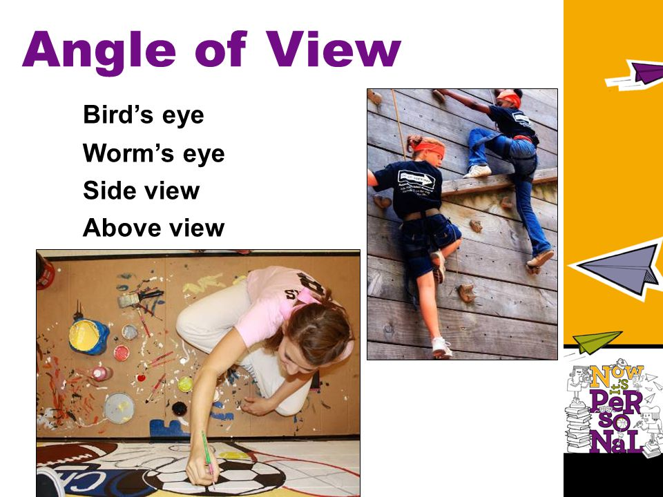 Angle of View Bird's eye Worm's eye Side view Above view