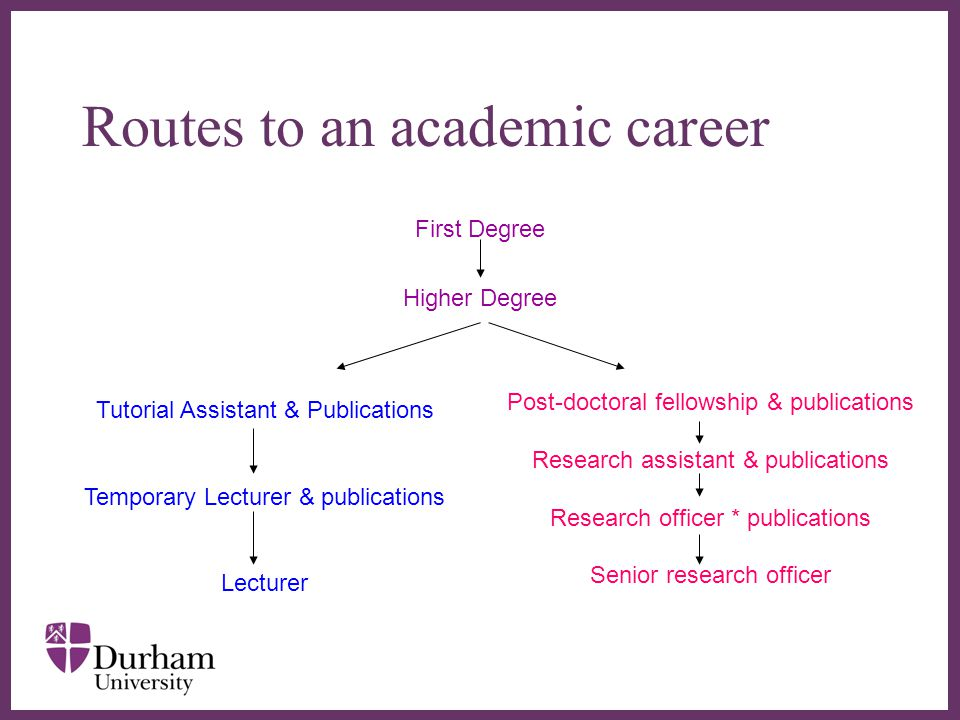 ∂ Routes to an academic career First Degree Higher Degree Tutorial Assistant & Publications Temporary Lecturer & publications Lecturer Post-doctoral fellowship & publications Research assistant & publications Research officer * publications Senior research officer