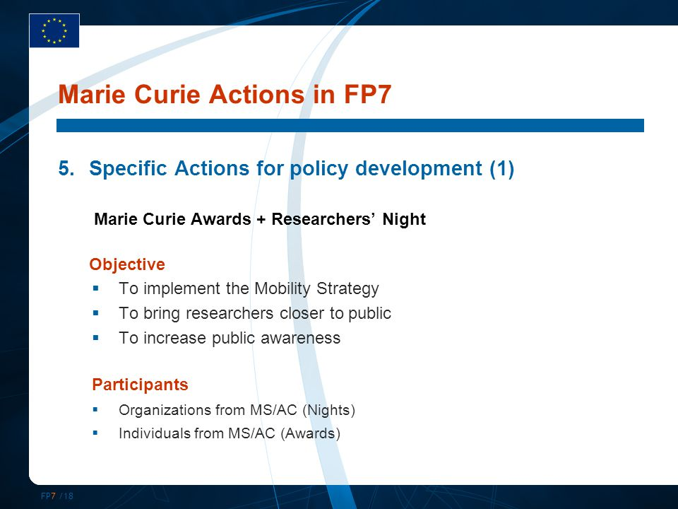FP7 /18 5.Specific Actions for policy development (1) Marie Curie Awards + Researchers' Night Objective  To implement the Mobility Strategy  To bring researchers closer to public  To increase public awareness Participants  Organizations from MS/AC (Nights)  Individuals from MS/AC (Awards) Marie Curie Actions in FP7