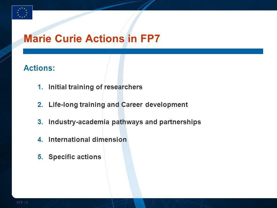 FP7 /9 Marie Curie Actions in FP7 Actions: 1.Initial training of researchers 2.Life-long training and Career development 3.Industry-academia pathways and partnerships 4.International dimension 5.Specific actions
