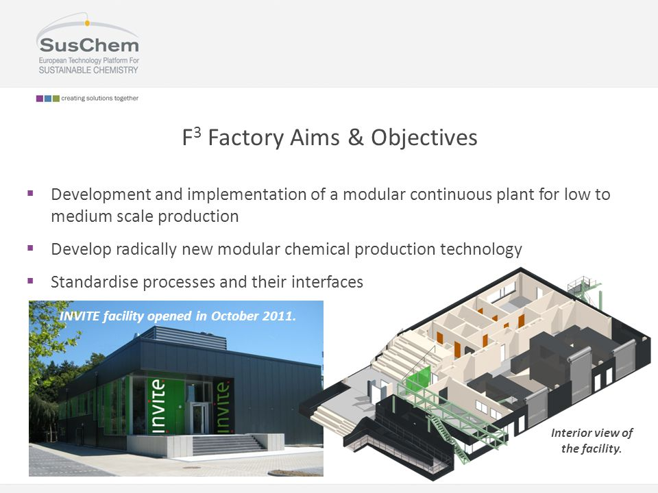 F 3 Factory Aims & Objectives  Development and implementation of a modular continuous plant for low to medium scale production  Develop radically new modular chemical production technology  Standardise processes and their interfaces INVITE facility opened in October 2011.