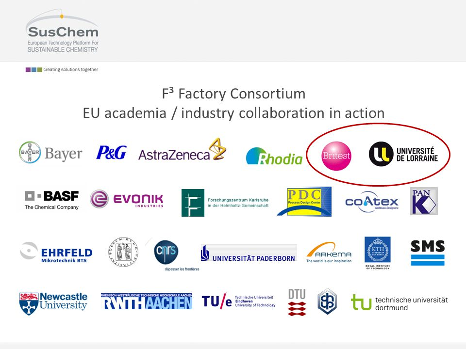 F³ Factory Consortium EU academia / industry collaboration in action