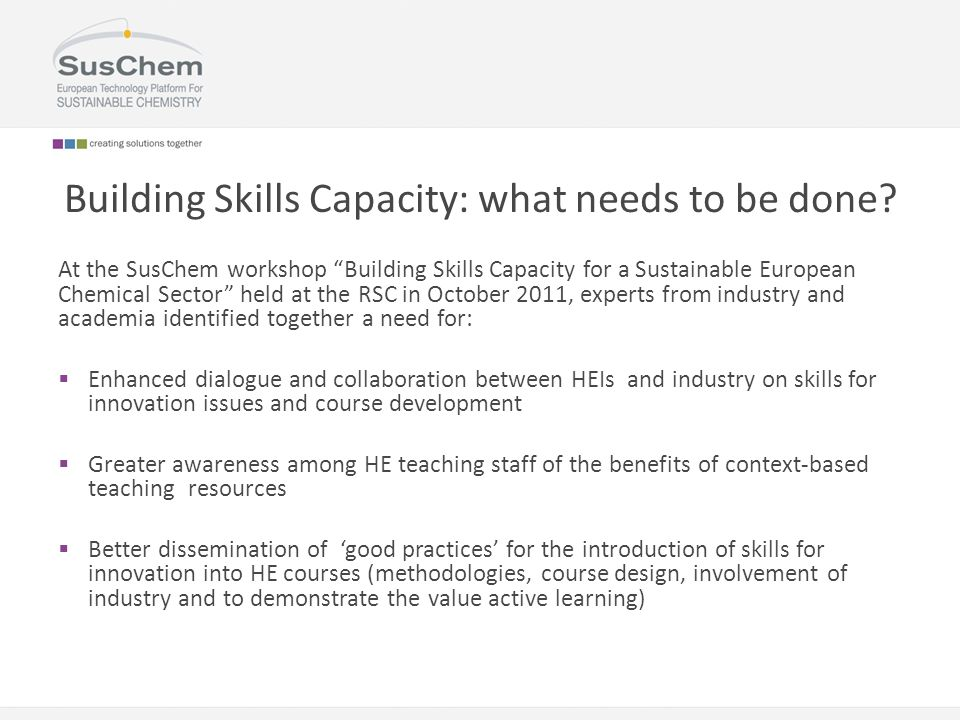 Building Skills Capacity: what needs to be done.