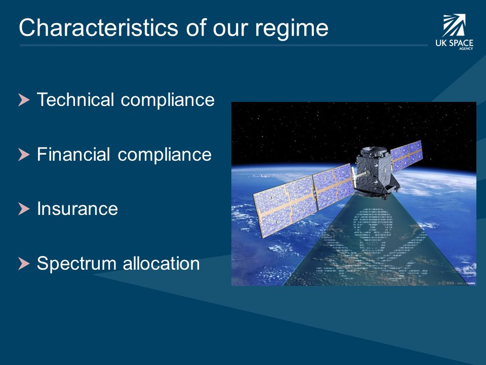 Characteristics of our regime Technical compliance Financial compliance Insurance Spectrum allocation