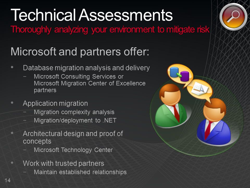 14 Thoroughly analyzing your environment to mitigate risk Technical Assessments Thoroughly analyzing your environment to mitigate risk Microsoft and partners offer: Database migration analysis and delivery −Microsoft Consulting Services or Microsoft Migration Center of Excellence partners Application migration −Migration complexity analysis −Migration/deployment to.NET Architectural design and proof of concepts −Microsoft Technology Center Work with trusted partners −Maintain established relationships
