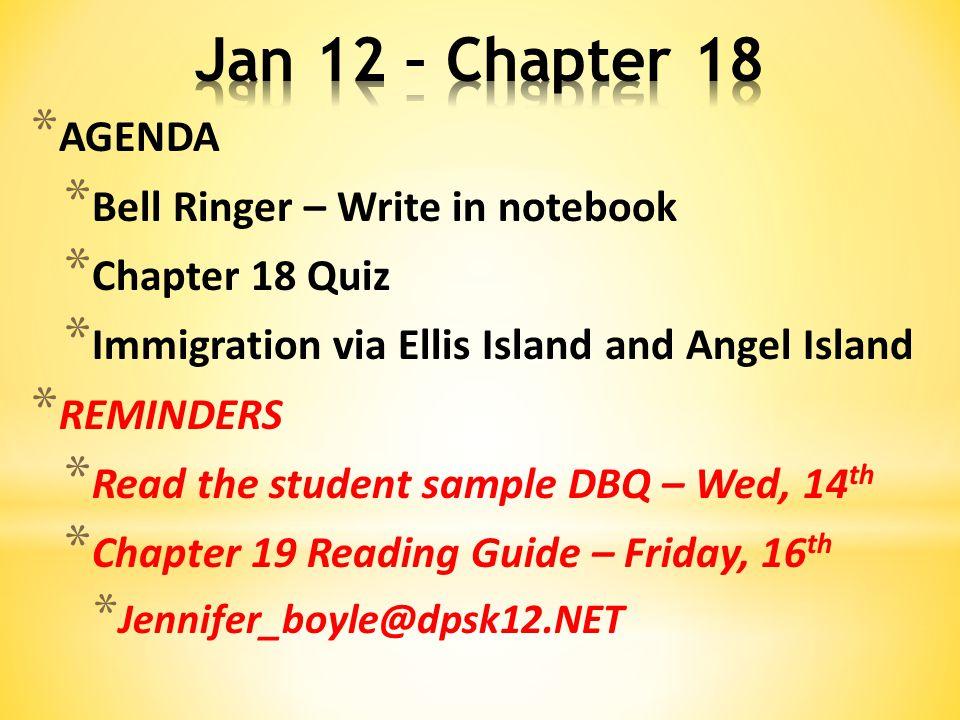 Chapter 18 Agenda Bell Ringer Write In Notebook Chapter 18