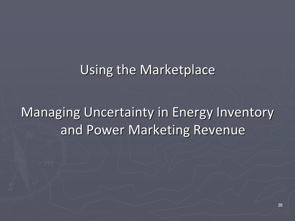 20 Using the Marketplace Managing Uncertainty in Energy Inventory and Power Marketing Revenue