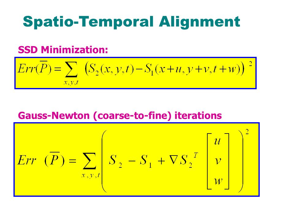 Spatio-Temporal Alignment SSD Minimization: Gauss-Newton (coarse-to-fine) iterations