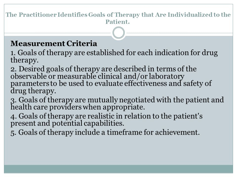 The Practitioner Identifies Goals of Therapy that Are Individualized to the Patient.