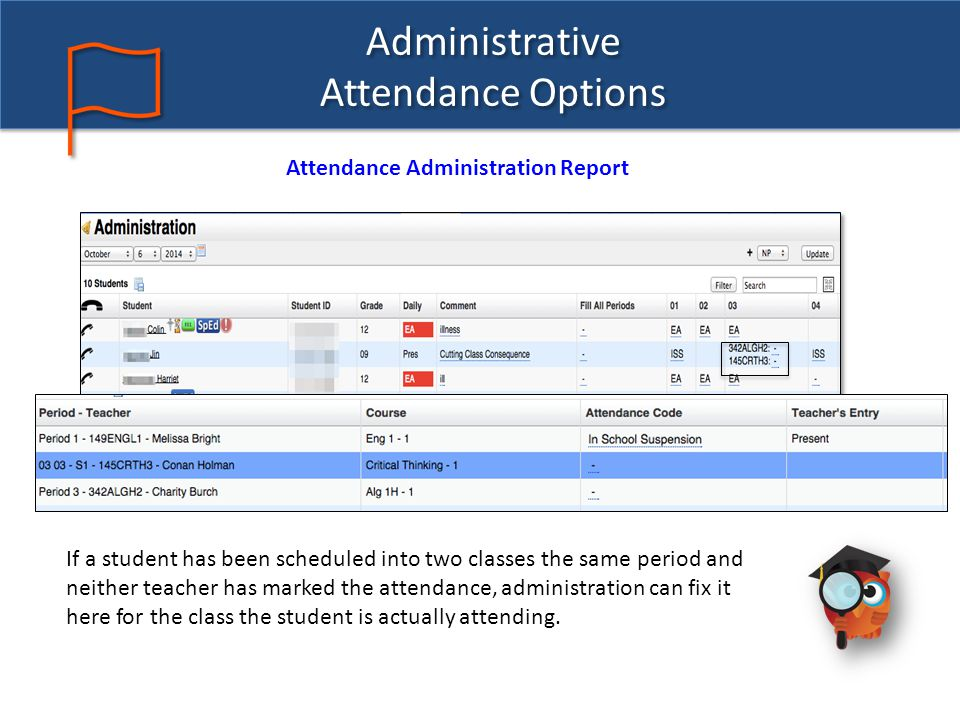 Administrative Attendance Options Attendance Administration Report If a student has been scheduled into two classes the same period and neither teacher has marked the attendance, administration can fix it here for the class the student is actually attending.
