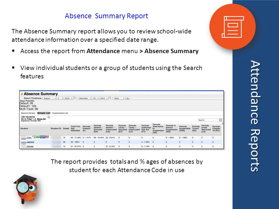 Attendance Reports Absence Summary Report The Absence Summary report allows you to review school-wide attendance information over a specified date range.