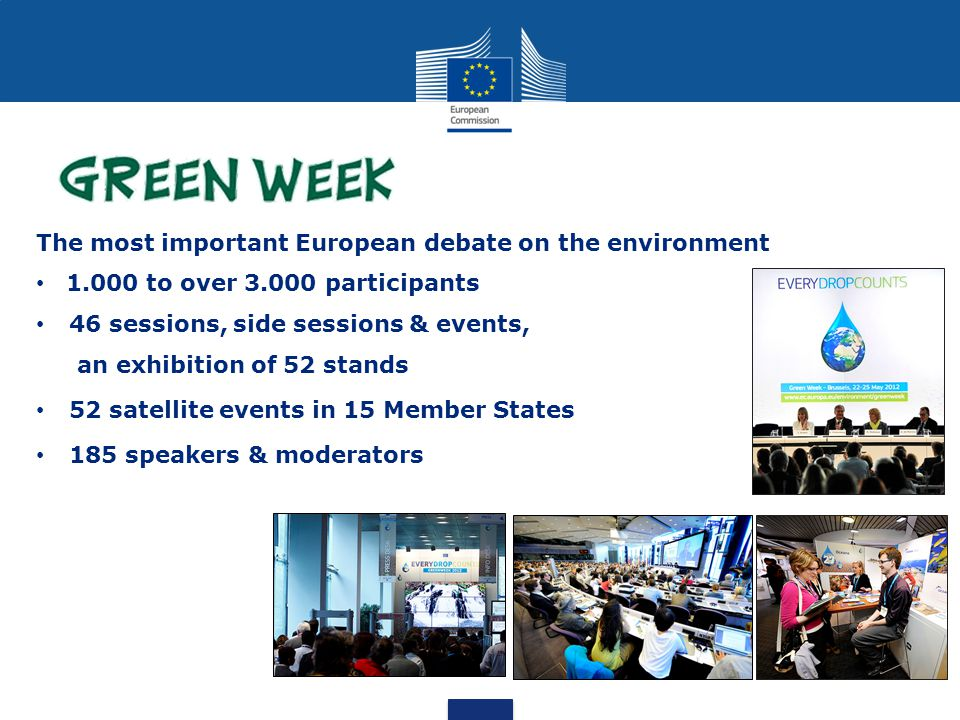 The most important European debate on the environment to over participants 46 sessions, side sessions & events, an exhibition of 52 stands 52 satellite events in 15 Member States 185 speakers & moderators