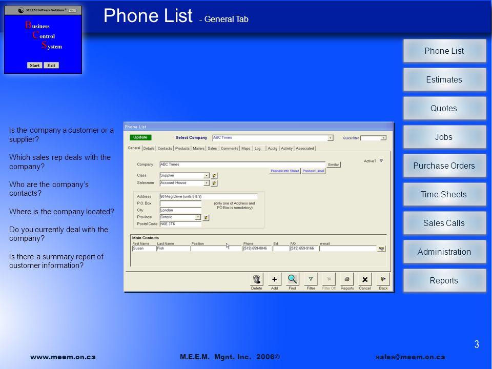 phone list estimates quotes jobs time sheets sales calls