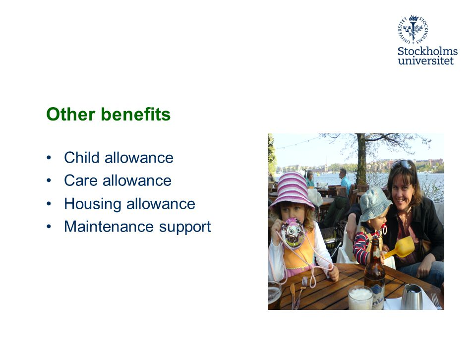 Other benefits Child allowance Care allowance Housing allowance Maintenance support