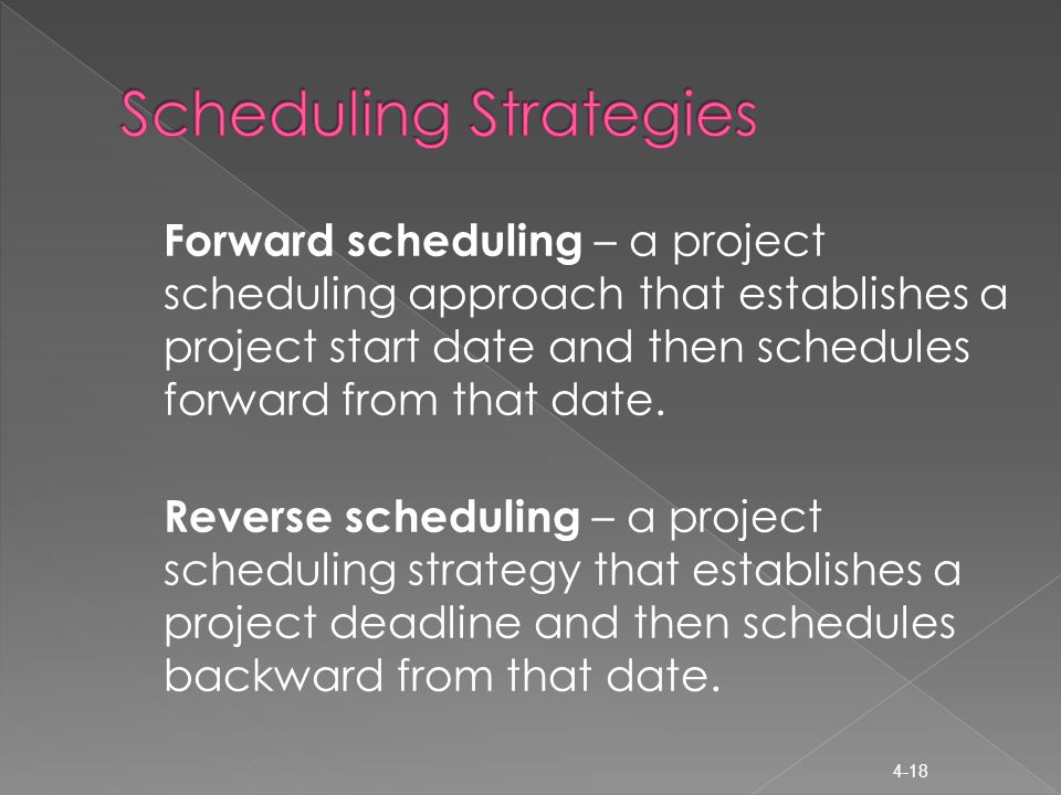 Forward scheduling – a project scheduling approach that establishes a project start date and then schedules forward from that date.