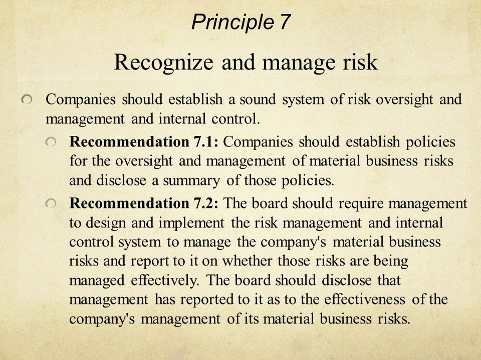 Principle 7 Recognize and manage risk Companies should establish a sound system of risk oversight and management and internal control.