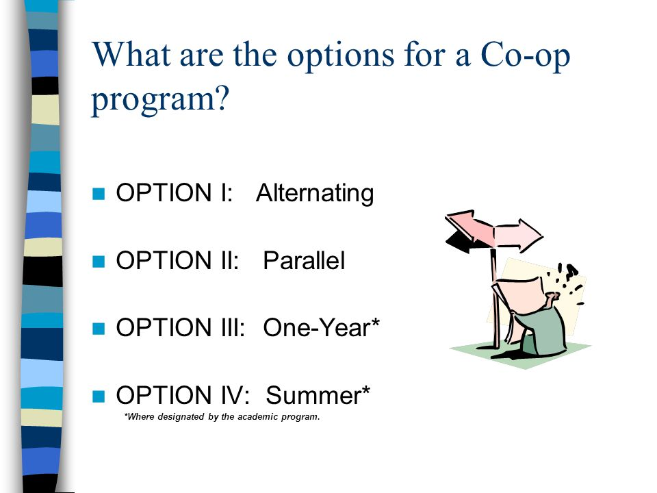 What are the options for a Co-op program.