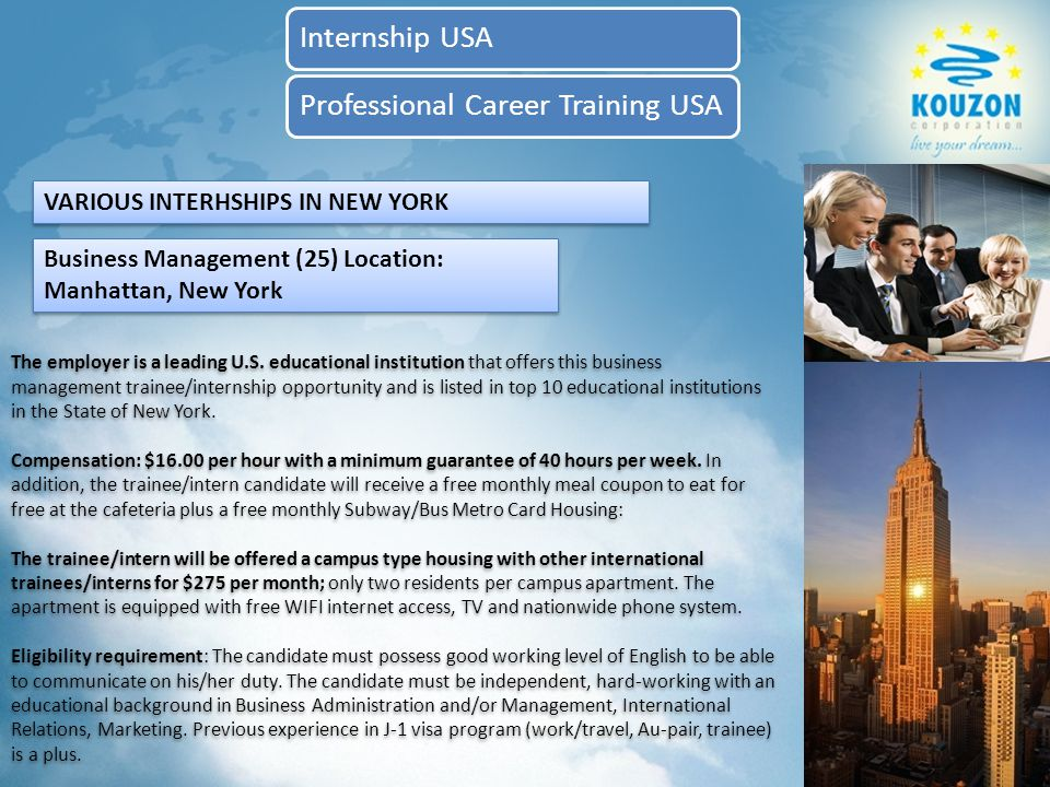 KOUZON USA INTERNSHIP PROGRAMS Internship USAProfessional Career