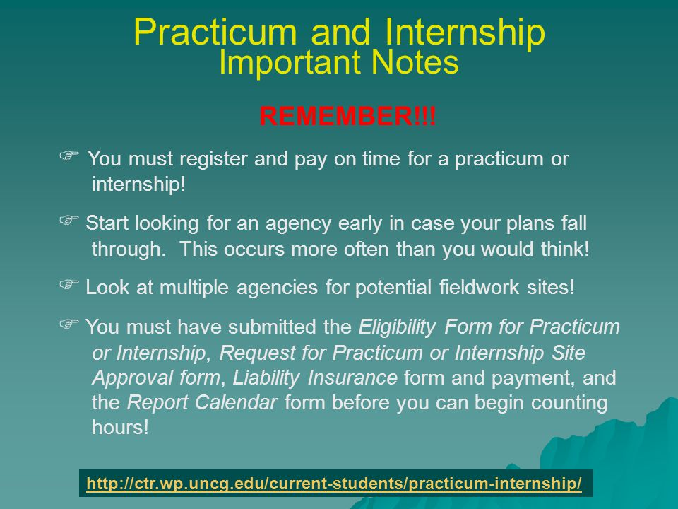 Practicum and Internship Important Notes REMEMBER!!.