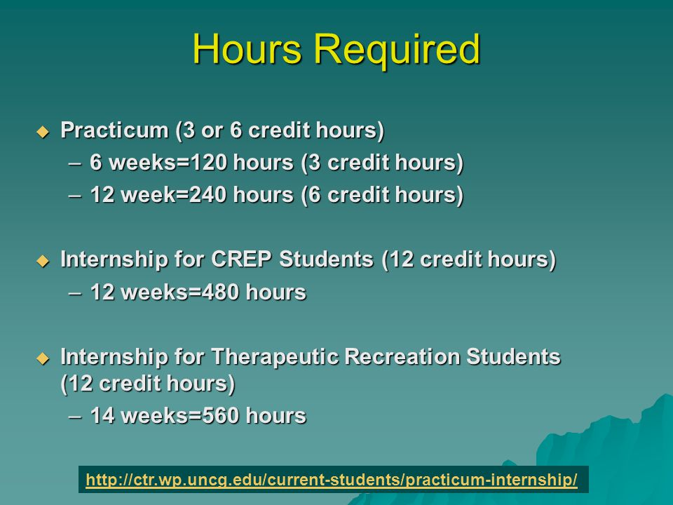 Hours Required  Practicum (3 or 6 credit hours) –6 weeks=120 hours (3 credit hours) –12 week=240 hours (6 credit hours)  Internship for CREP Students (12 credit hours) –12 weeks=480 hours  Internship for Therapeutic Recreation Students (12 credit hours) –14 weeks=560 hours