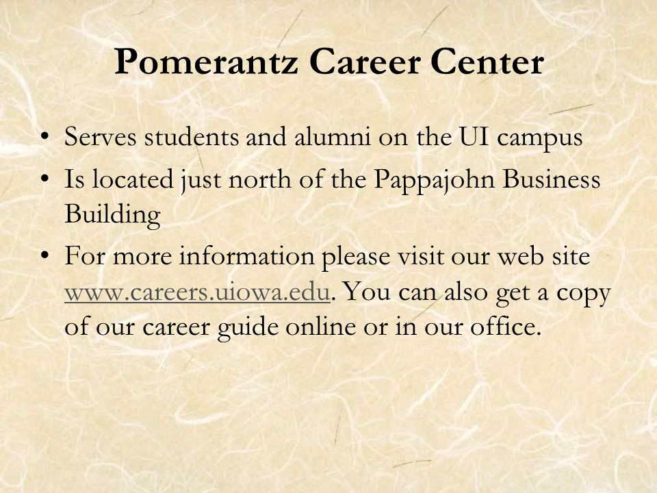 Serves students and alumni on the UI campus Is located just north of the Pappajohn Business Building For more information please visit our web site