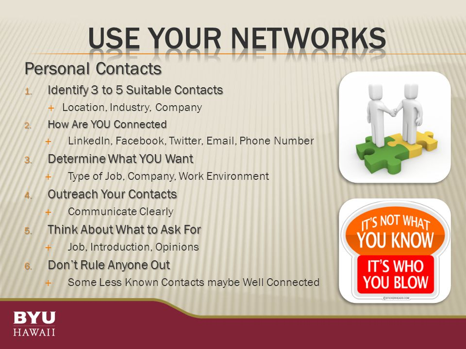 Personal Contacts 1. Identify 3 to 5 Suitable Contacts  Location, Industry, Company 2.