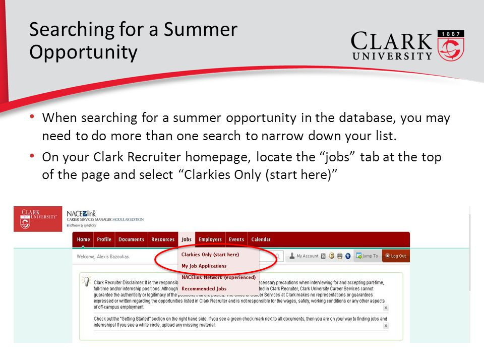When searching for a summer opportunity in the database, you may need to do more than one search to narrow down your list.