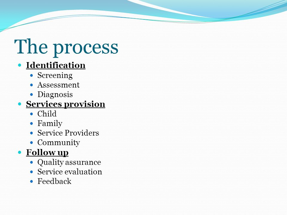 The process Identification Screening Assessment Diagnosis Services provision Child Family Service Providers Community Follow up Quality assurance Service evaluation Feedback