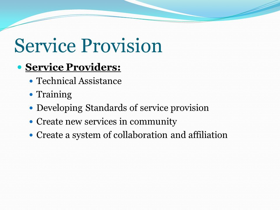 Service Provision Service Providers: Technical Assistance Training Developing Standards of service provision Create new services in community Create a system of collaboration and affiliation