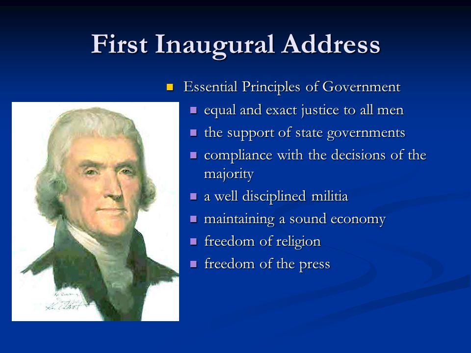 jeffersons first inaugural address