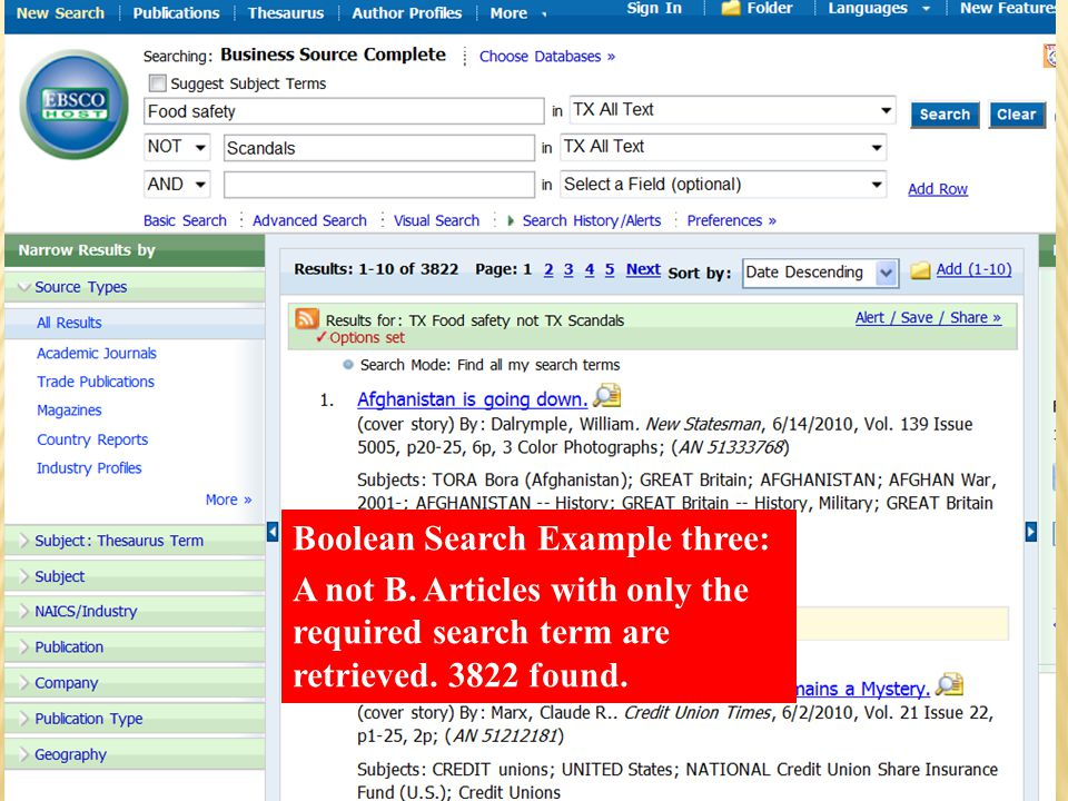 Boolean Search Example three: A not B. Articles with only the required search term are retrieved.