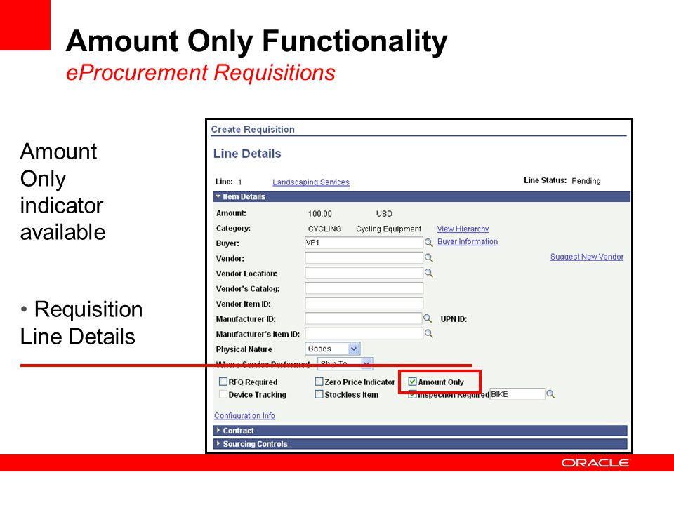 Amount Only indicator available Requisition Line Details Amount Only Functionality eProcurement Requisitions