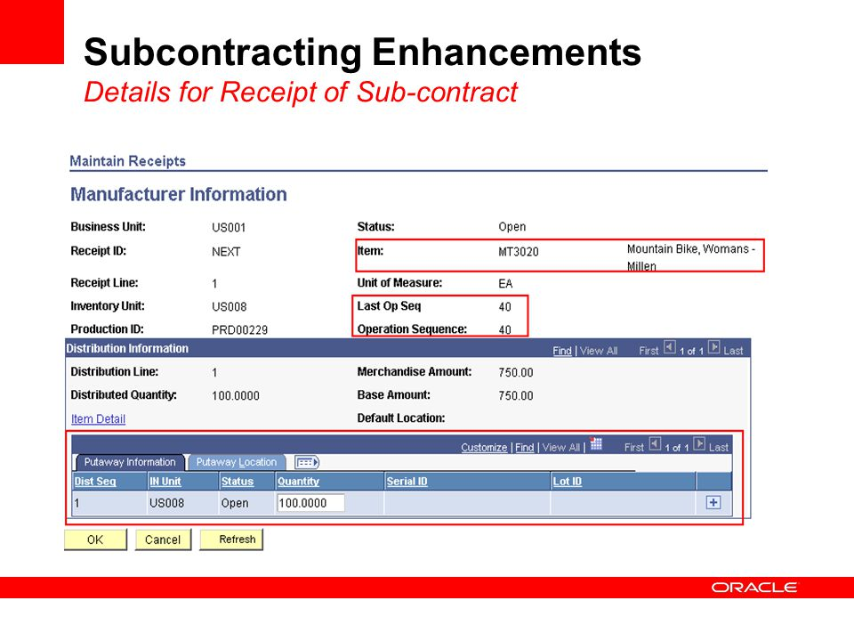 Subcontracting Enhancements Details for Receipt of Sub-contract